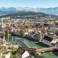 Aerial View Of Lucerne In Switzerland.  by Didier Marti