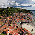 Aerial View Of Piran Slovenia On The Adriatic Sea Coast With Har by Reimar Gaertner