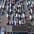 Aerial View Of Semi Trucks At Port by Don Mason