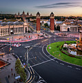 Aerial View On Placa Espanya And Montjuic Hill With National Art by Andrey Omelyanchuk