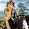 Afghan Hound-falconer And Windmill Canvas Fine Art Print by Sandra Sij