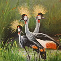 Afrian Crowned Cranes by Theresa Cangelosi