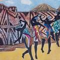 African Dancers Celabrating Sunset by Pamela Mccabe