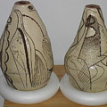 African Terracotta Goulds - View One by Gloria Ssali