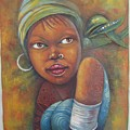 African Woman Portrait- African Paintings by Jafeth Moiane