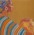 African Woman With Pot1 by Pamela Mccabe