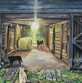 After Hours In Pa's Barn - Barn Lights - Labs by Jan Dappen