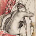 After The Bath Seated Woman Drying Herself by Edgar Degas