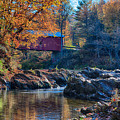 Afternoon Autumn Sun On Vermont Covered Bridge by Jeff Folger