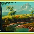Afternoon By The River With Peaceful Landscape L A S With Decorative Ornate Printed Frame. by Gert J Rheeders