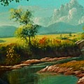 Afternoon By The River With Peaceful Landscape L B by Gert J Rheeders