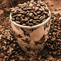Aged Filter Of Coffee Beans In Mug by Jorgo Photography - Wall Art Gallery