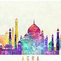 Agra Landmarks Watercolor Poster by Pablo Romero