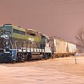 Aikr Gp30 In Snow by Joseph Johns