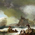 Ailing Ships On Rocks by Thomas Luny