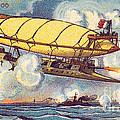 Air Battle, 1900s French Postcard by Science Source