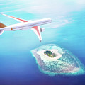 Airplane Flying Over Maldives Islands On Indian Ocean. Travel by Michal Bednarek