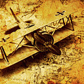 Airplane War Bomber Miniature On Vintage Map by Jorgo Photography - Wall Art Gallery