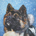 Akita In Snow by Lee Ann Shepard