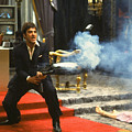 Al Pacino As Tony Montana With Machine Gun Blasting His  Fellow Bad Guys Scarface 1983 by David Lee Guss