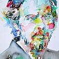 Alan Watts Watercolor Portrait by Fabrizio Cassetta