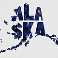 Alaska Typography Map Flag by Kevin O'Hare