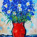 Albastrele Blue Flowers And Daisies by Ana Maria Edulescu