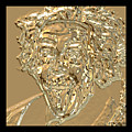 Albert Sticks Out His Tongue 24 Kt Gold 4  by Nicholas Romano