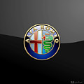 Alfa Romeo - 3 D Badge On Black by Serge Averbukh