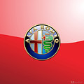 Alfa Romeo - 3d Badge On Red by Serge Averbukh