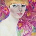 Ali Macgraw In Orange Hat by Florence Hsu