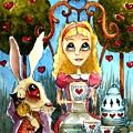 Alice And The Rabbit Having Tea... by Lucia Stewart