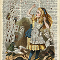 Alice in the wonderland on a vintage dictionary book page by Anna Wilkon
