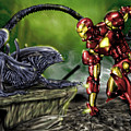 Alien Vs Iron Man by Pete Tapang