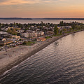 Alki Point Aerial Sunset by Mike Reid