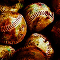 All American Pastime - A Pile Of Fastballs - Electric Art by Wingsdomain Art and Photography