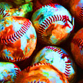 All American Pastime - Pile Of Baseballs - Painterly by Wingsdomain Art and Photography