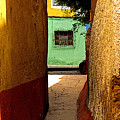 Alley With The Green Casa by Mexicolors Art Photography