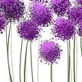 Alliums Flower Art - Purple And Gray Art by Lourry Legarde