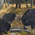 Along An Autumn Path - Black Bear With Cubs by Johanna Lerwick