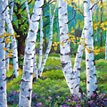 Alpine Flowers And Birches  by Richard T Pranke