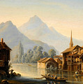 Alpine Lake Scenery With City View by MotionAge Designs