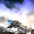Alpine Mountains And Clouds Watercolour by John Williams