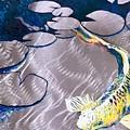 Aluminum Print, Koi Fish Print On Metal. Fish Art - Yellow - Blue - Green 3d Painting Of Koi Fish, A by Sasha Toporovsky