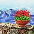 Amalfi Coast Flowers Watercolor Anacapri Island by Irina Sztukowski