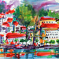 Amalfi Coast Italy Expressive Watercolor by Ginette Callaway