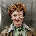 Amelia Earhart American Aviation Pioneer Colorized 20170525 by Wingsdomain Art and Photography