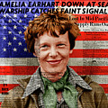Amelia Earhart American Aviation Pioneer Colorized 20170525a Square With Newspaper And American Flag by Wingsdomain Art and Photography