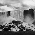 American And Bridal Veil Falls With Luna Island And Deposited Talus Niagara Falls New York State Usa by Joe Fox