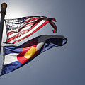 American And Colorado Flags by Lori Werhane